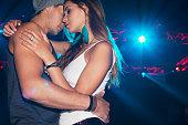Sexy couple dancing under spotlight