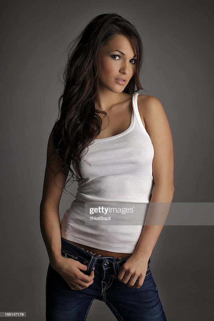 Sexy Girl In A White Tank Top Stock Photo Getty Images