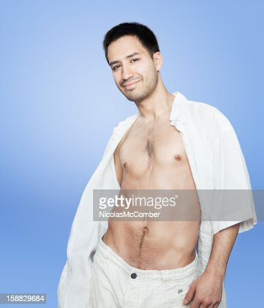 Sexy Latino Man With Open Shirt And Swagger Stock Photo