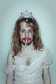 Sexy Male Prom queen cigarette drag tiara on head lipstick