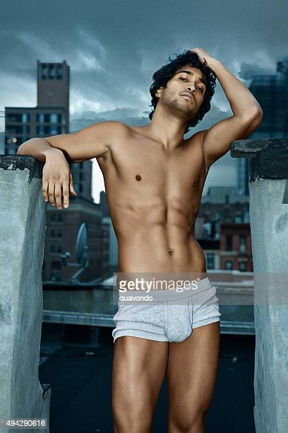 Sexy Mixed Man in White Underwear