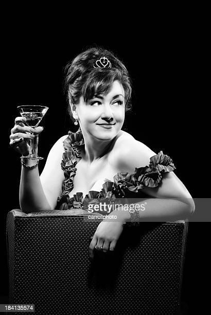 Sexy Femme buvant Cocktail rétro