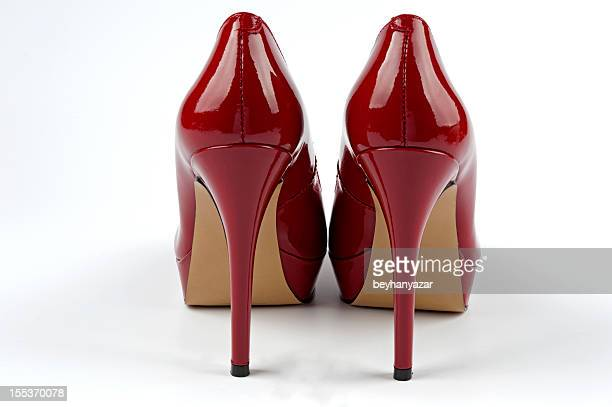 Sexy shiny red patent leather high heels stilettos shoes