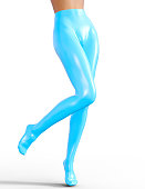 Sexy slim female legs in blue latex stockings. Conceptual fashion art. Shiny pantyhose. Seductive candid pose. Photorealistic 3D render illustration. Isolate. Studio, high key.