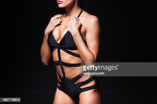 Sexy Torso Of Young Woman With Perfect Breast Wearing Black Stock Photo