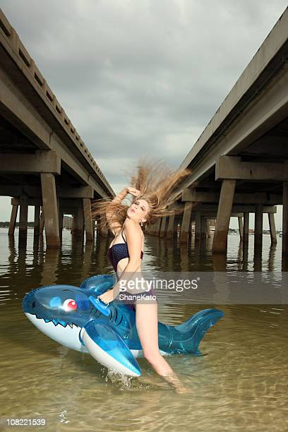 Sexy Wet Woman takes Wild Ride on Shark Raft