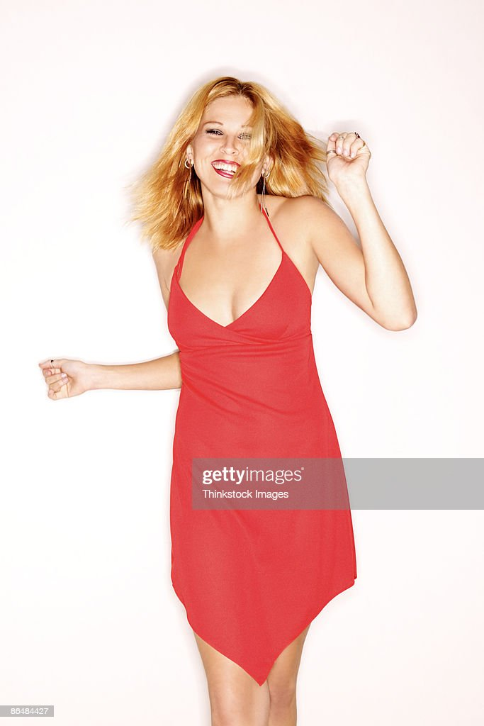 Sexy woman in red dress : Stock Photo