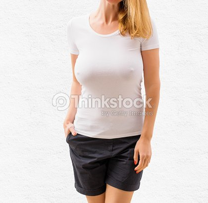 Sexy Woman In White Empty Tshirt Template Stock Photo Thinkstock