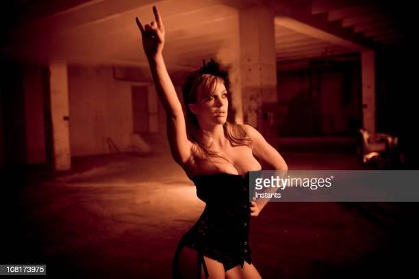 Sexy Woman Posing in Underground Parking Garage