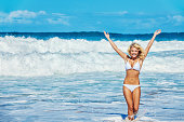Photo of an attractive young blonde woman in a white bikini, standing in the Hawaiian surf with waves crashing behind her, arms raised in the air.