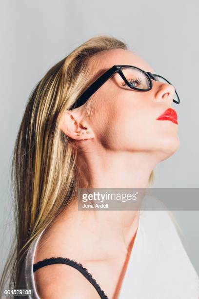 Sexy Young Woman Wearing Glasses