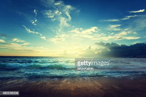 seychelles beach in sunset time : Stock Photo