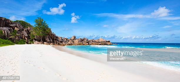 Seychelles, La Digue, beach, panorama