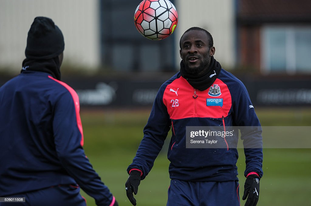 <a gi-track='captionPersonalityLinkClicked' href=/galleries/search?phrase=Seydou+Doumbia&family=editorial&specificpeople=5546505 ng-click='$event.stopPropagation()'>Seydou Doumbia</a> looks at the ball during the Newcastle United Training session at The Newcastle United Training Centre on April 29, 2016, in Newcastle upon Tyne, England.