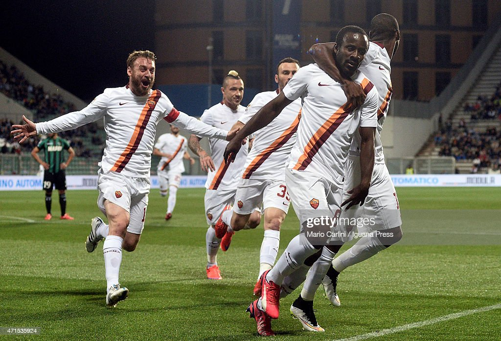 Seydou Doumbia of AS Roma celebrates after scoring the opening goal during the Serie A match between US Sassuolo Calcio and AS Roma on April 29 2015...