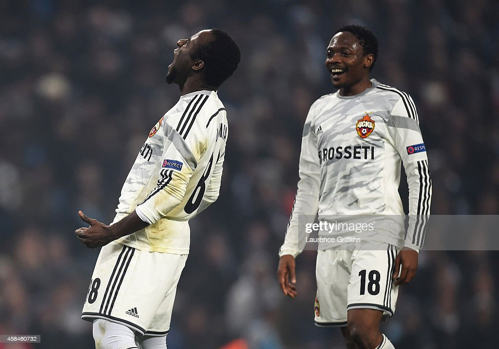 Seydou Doumbia of CSKA Moscow celebrates scoring his team's second goal with Ahmed Musa (R) during the UEFA Champions League Group E match between Manchester City and CSKA Moscow on November 5, 2014 in Manchester, United Kingdom.