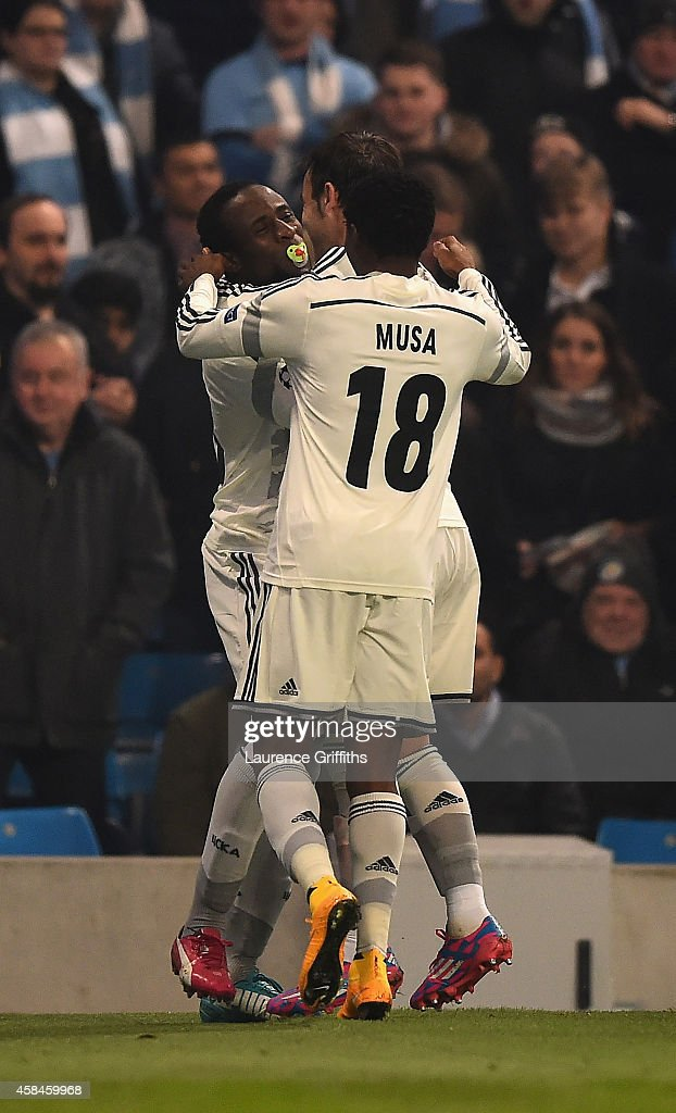 Seydou Doumbia of CSKA Moscow celebrates scoring the opening goal during the UEFA Champions League Group E match between Manchester City and CSKA Moscow on November 5, 2014 in Manchester, United Kingdom.