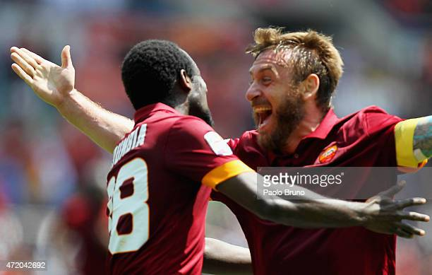 Seydou Doumbia with his teammate Daniele De Rossi of AS Roma celebrates after scoring the opening goal during the Serie A match between AS Roma and...