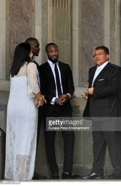 Seydou Keita Eric Abidal and Joan Laporta attend the wedding of the goalkeeper Victor Valdes and Yolanda Cardona on June 9 2017 in Barcelona Spain
