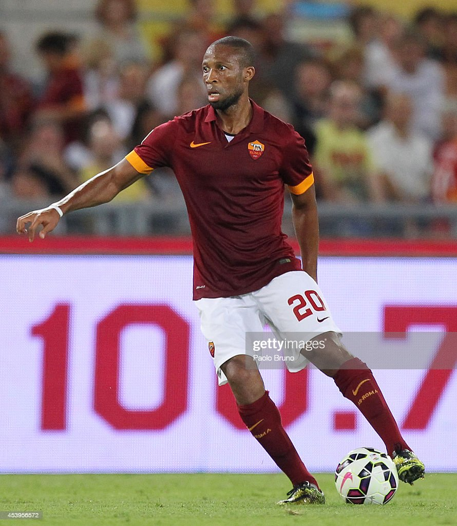 <a gi-track='captionPersonalityLinkClicked' href=/galleries/search?phrase=Seydou+Keita&family=editorial&specificpeople=709847 ng-click='$event.stopPropagation()'>Seydou Keita</a> of AS Roma in action during the pre-season friendly match between AS Roma and Fenerbache SK at Stadio Olimpico on August 19, 2014 in Rome, Italy.