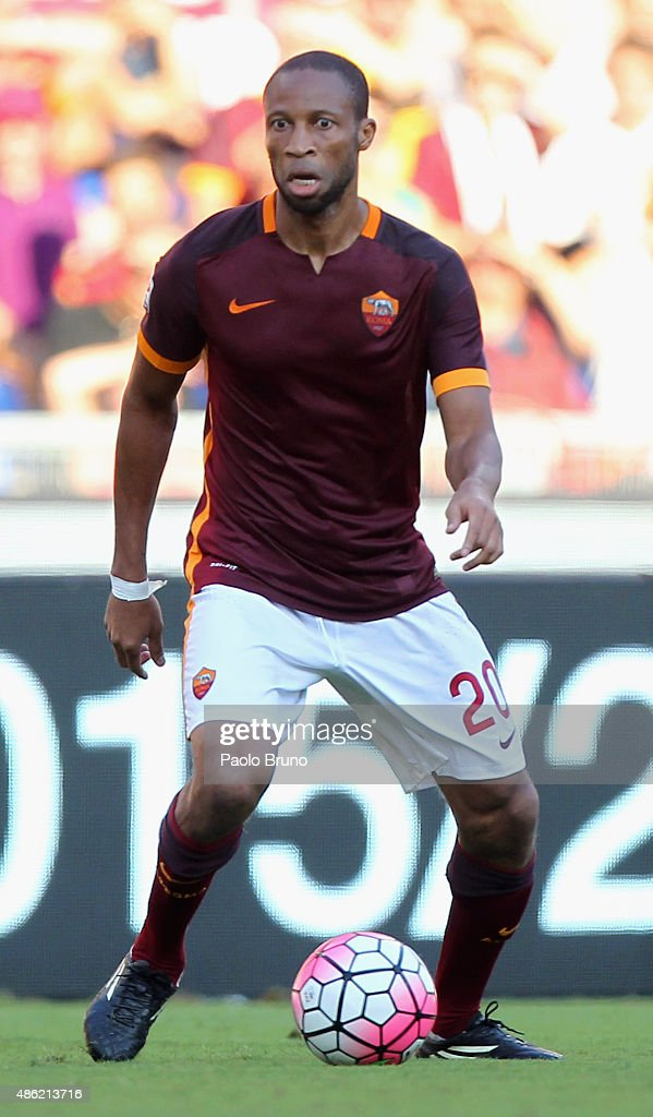 <a gi-track='captionPersonalityLinkClicked' href=/galleries/search?phrase=Seydou+Keita&family=editorial&specificpeople=709847 ng-click='$event.stopPropagation()'>Seydou Keita</a> of AS Roma in action during the Serie A match between AS Roma and Juventus FC at Stadio Olimpico on August 30, 2015 in Rome, Italy.