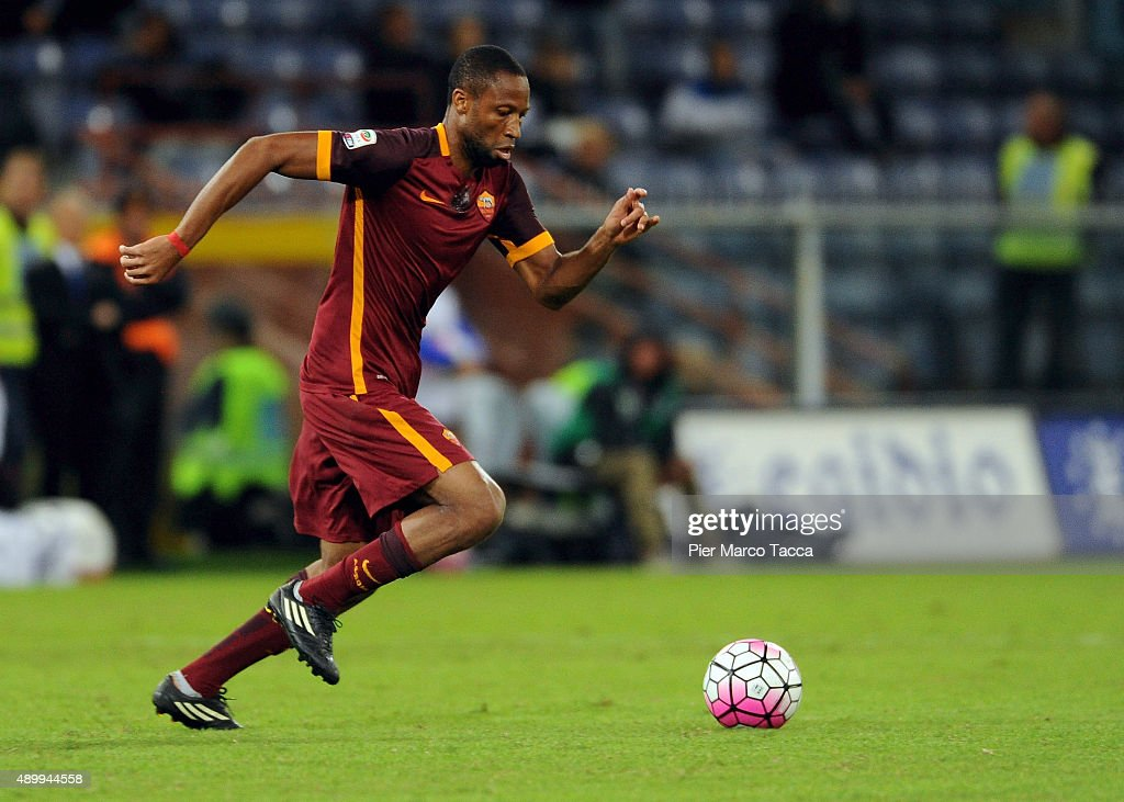 <a gi-track='captionPersonalityLinkClicked' href=/galleries/search?phrase=Seydou+Keita&family=editorial&specificpeople=709847 ng-click='$event.stopPropagation()'>Seydou Keita</a> of AS Roma in action during the Serie A match between UC Sampdoria and AS Roma at Stadio Luigi Ferraris on September 23, 2015 in Genoa, Italy.
