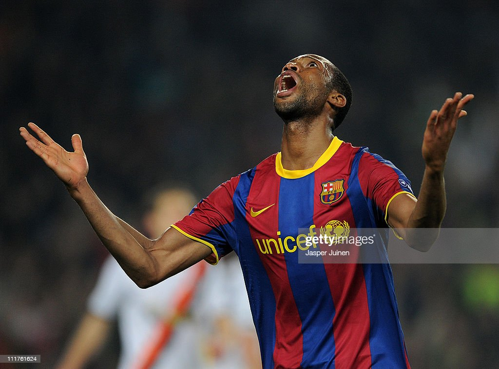 Seydou Keita of Barcelona celebrates scoring during the UEFA Champions League quarter final first leg match between Barcelona and Shakhtar Donetsk at the Camp Nou stadium on April 6, 2011 in Barcelona, Spain.