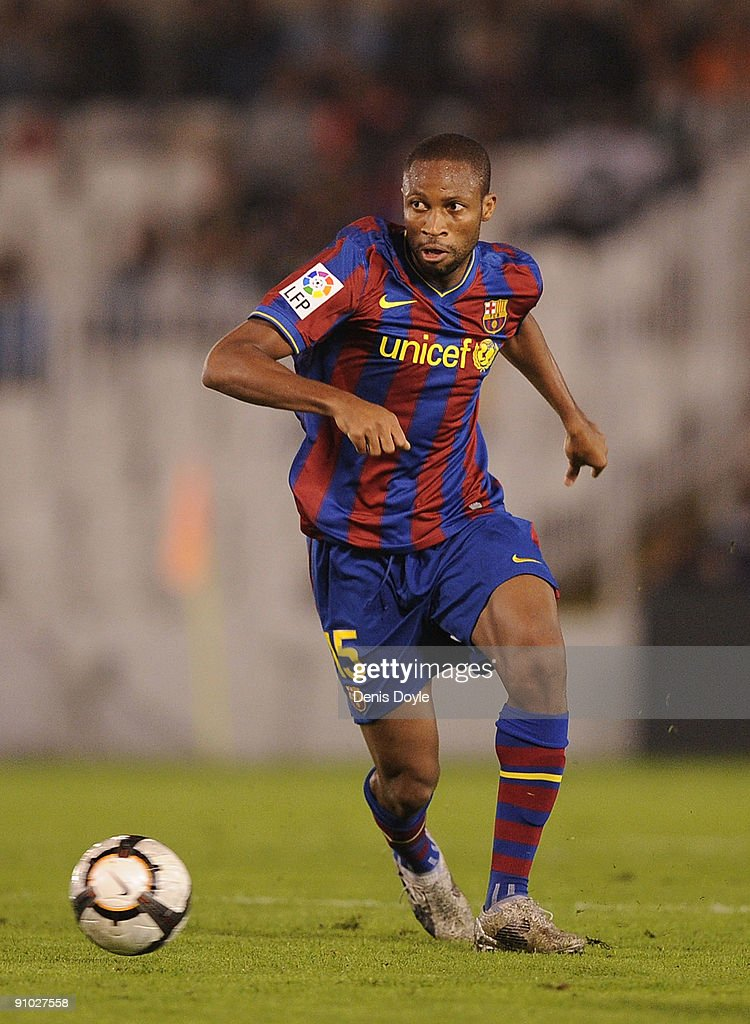 <a gi-track='captionPersonalityLinkClicked' href=/galleries/search?phrase=Seydou+Keita&family=editorial&specificpeople=709847 ng-click='$event.stopPropagation()'>Seydou Keita</a> of Barcelona is shown in action during the La Liga match between Racing Santander and Barcelona at El Sardinero stadium on September 22, 2009 in Santander, Spain.