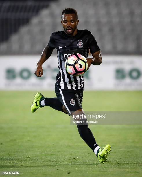 Seydouba Soumah of Partizan in action during the UEFA Europa League Qualifying PlayOffs round first leg match between Partizan and Videoton FC at...