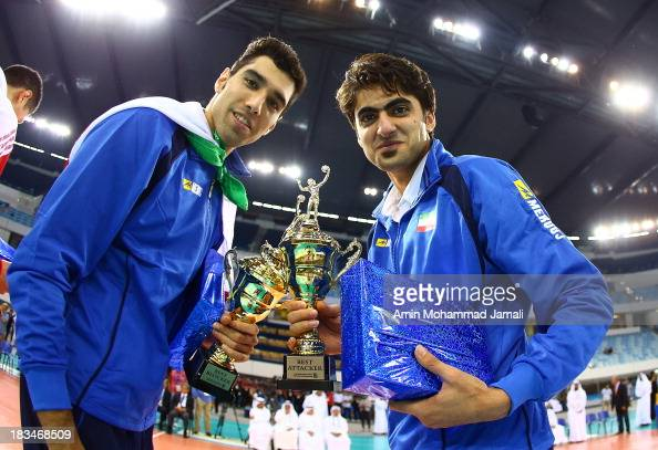 Seyed Mohammad Mousavi and Amir Ghafour during 17th Asian Men's Volleyball Championship between Iran And Korea on October 6 2013 in Dubai United Arab...