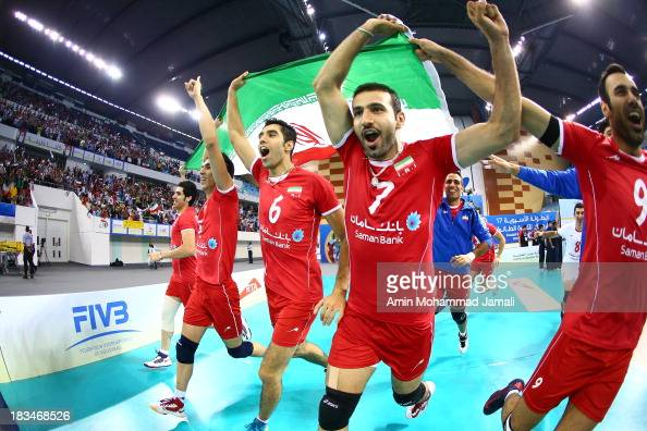 Seyed Mohammad Mousavi and Hamzeh zarini celebrates after wining during 17th Asian Men's Volleyball Championship between Iran And Korea on October 6...