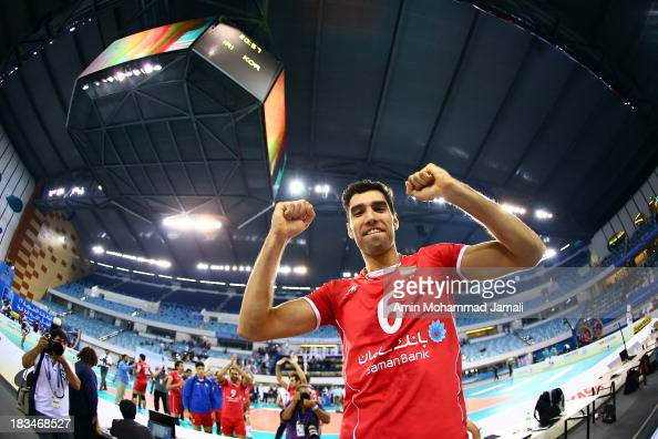 Seyed Mohammad Mousavi celebrates after wining during 17th Asian Men's Volleyball Championship between Iran And Korea on October 6 2013 in Dubai...