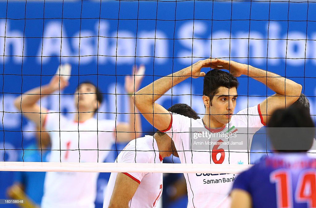 Seyed Mohammad Mousavi during 17th Asian Men's Volleyball Championship between Iran And Japan on October 5, 2013 in Dubai, United Arab Emirates.
