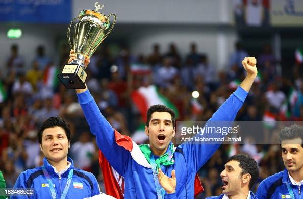 Seyed Mohammad Mousavi during 17th Asian Men's Volleyball Championship between Iran And Korea on October 6 2013 in Dubai United Arab Emirates