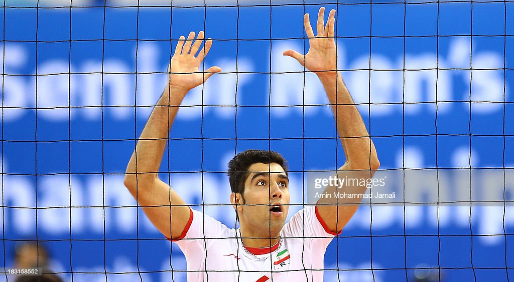 Seyed Mohammad Mousavi during the 17th Asian Men's Volleyball Championship between Iran And Japan on October 5, 2013 in Dubai, United Arab Emirates.
