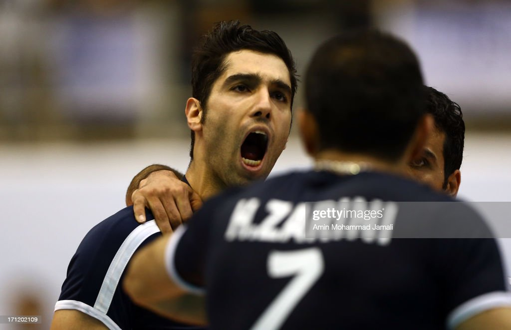 Seyed Mohammad Mousavi Eraghi of Iran reacts during the Volleyball World League match between Iran and Serbia on June 23, 2013 in Tehran, Iran Azadi Complex.