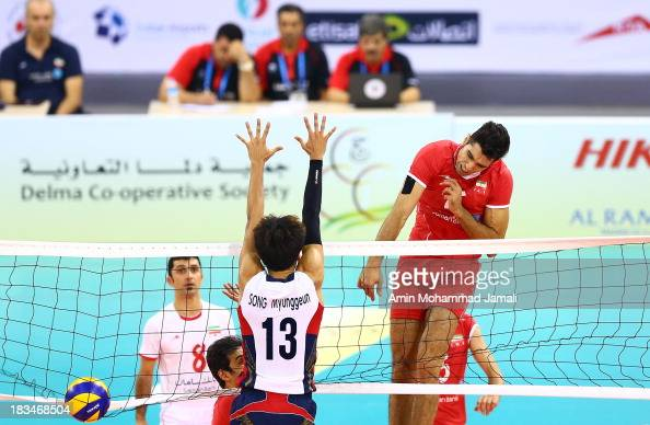 Seyed Mohammad Mousavi in Action during 17th Asian Men's Volleyball Championship between Iran And Korea on October 6 2013 in Dubai United Arab...