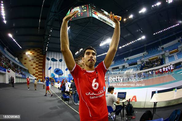 Seyed Mohammad Mousavi of Iran during 17th Asian Men's Volleyball Championship between Iran And Lebanon on October 4 2013 in Dubai United Arab...
