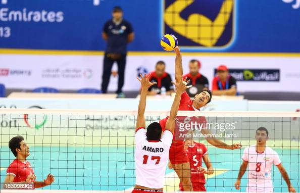 Seyed Mohammad Mousavi of Iran in Action during 17th Asian Men's Volleyball Championship between Iran And Lebanon on October 4 2013 in Dubai United...