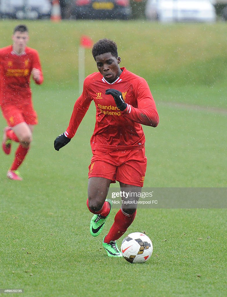 Seyi Ojo of Liverpool in action during the Barclays Premier League Under 18 fixture between Liverpool and Sunderland at the Liverpool FC Academy on February 15 in Kirkby, England.