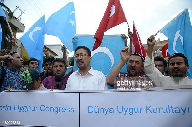 Seyit Tumturk the vice president of the World Uyghur Congress delivers a speech when a group of people gather in front of Embassy of Thailand in...