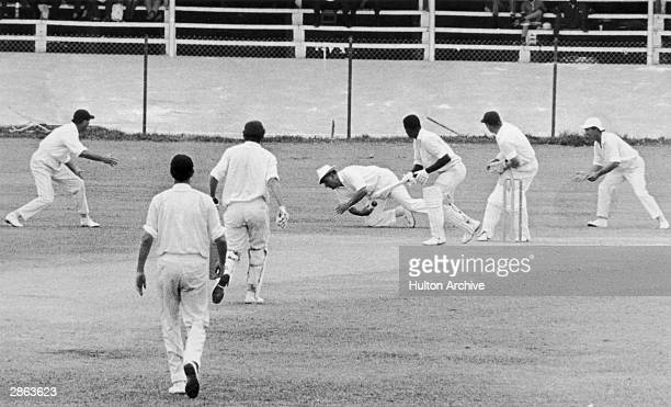 Seymour Nurse edges to slips off Ken Barrington but Michael Colin Cowdrey fails to take the catch during the second innings of the first test at the...