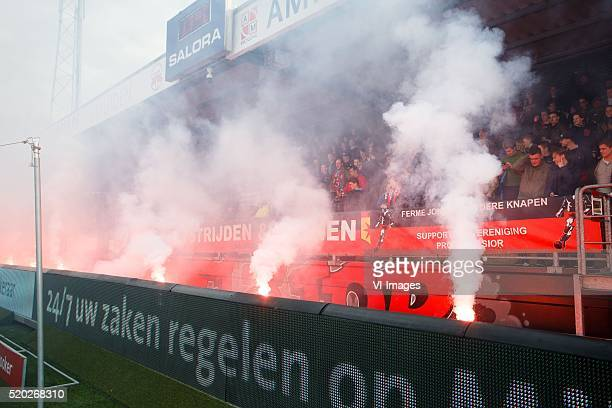 sfeer actie fans Excelsior during the Dutch Eredivisie match between Excelsior and Heracles Almelo on april 9 2016 at Stadium Woudestein in Rotterdam...