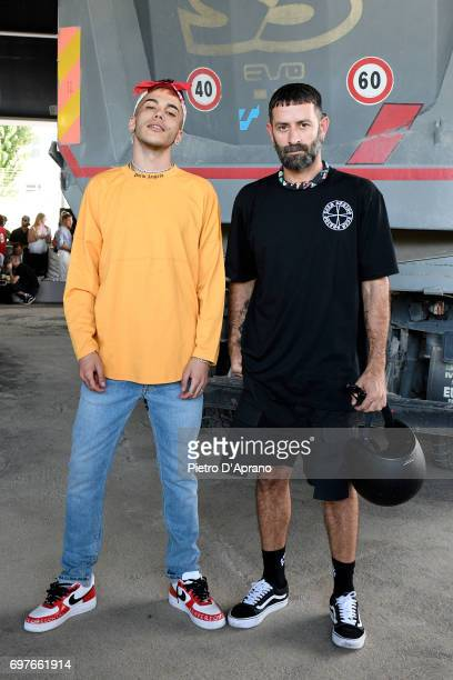 Sfera Ebbasta and Marcelo Burlon attend the Palm Angels show during Milan Men's Fashion Week Spring/Summer 2018 on June 19 2017 in Milan Italy