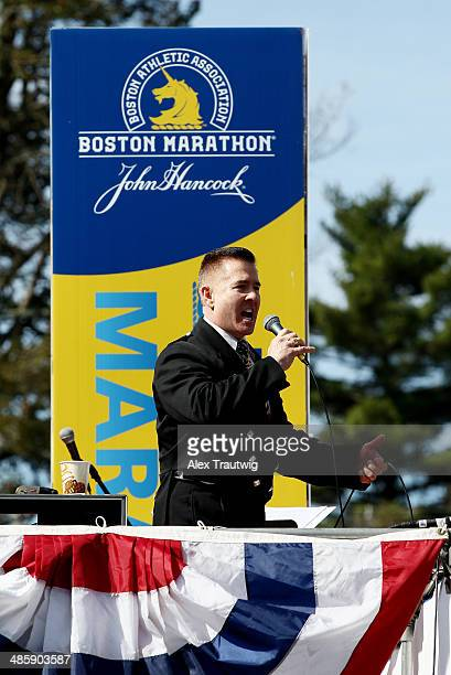 Sgt Daniel M Clark sings the national anthem prior to the start of the 118th Boston Marathon on April 21 2014 in Hopkinton Massachusetts
