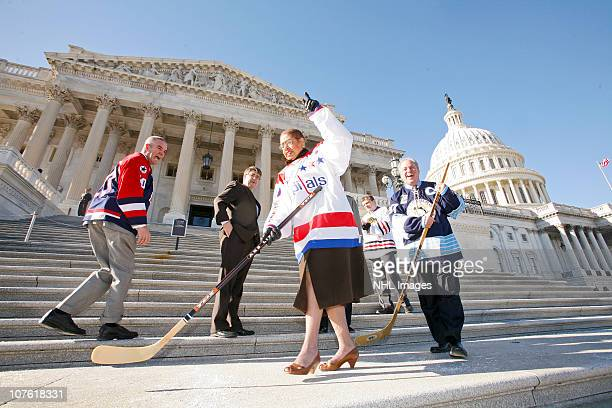 Sgt First Class Joseph Bowser Congresswoman Eleanor Holmes Norton Congressman Michael Quigley and US Representative Mike Doyle attend Ceremonial Puck...