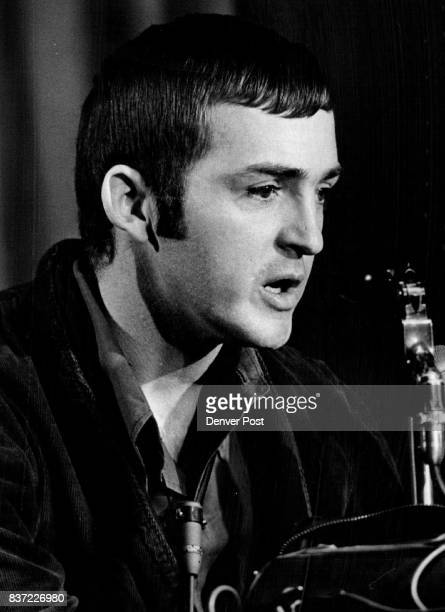 S Sgt John C Sexton Jr freed by the Viet Cong Oct 8 after 27 months of captivity faces battery of microphones during press conference Saturday Credit...