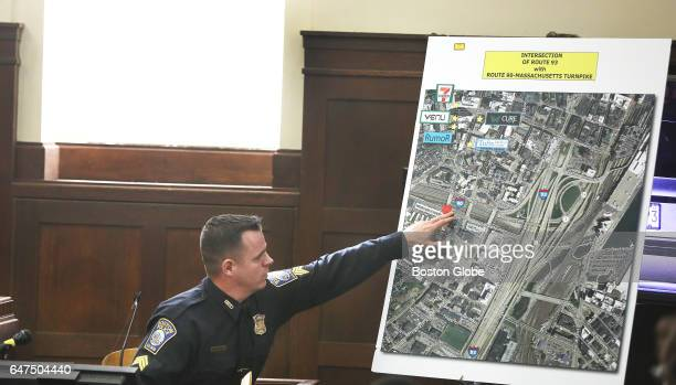 Sgt Sean McCarthy refers to the map where blood evidence was found under questioning by defense attorney Jose Baez during the double murder trial of...
