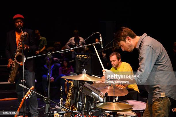 Shabaka Hutchings Hugh Jones and Tom Skinner of the band Hello Skinny performs for Jazz in the Round at the The Cockpit Theatre on October 29 2012 in...