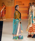 Shabana Azmi and Dia Mirza during designer Ritu Kumar's show held at Taj Land's End in Mumbai